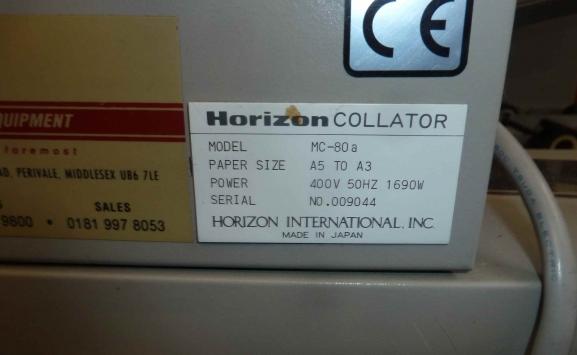 1999 HORIZON MC80A SUCTION COLLATOR