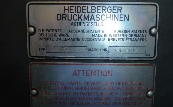HEIDELBERG KORD 64 ONE COLOUR OFFSET