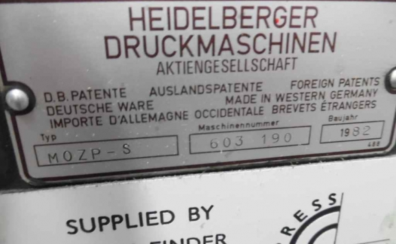 USED HEIDELBERG MOZP-S 2 COLOUR OFFSET