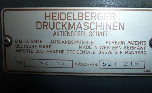 HEIDELBERG SM 72 FP FIVE COLOUR OFFSET