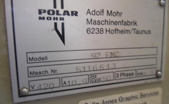 POLAR PAPER CUTTER 92 EMC