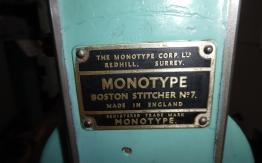 BOSTON MONOTYPE SINGLE HEAD WIRE STITCHER.