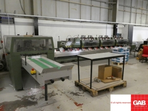 Used saddle stitching machines Muller Martini Valore Saddle Stitcher with 6 stations and cover